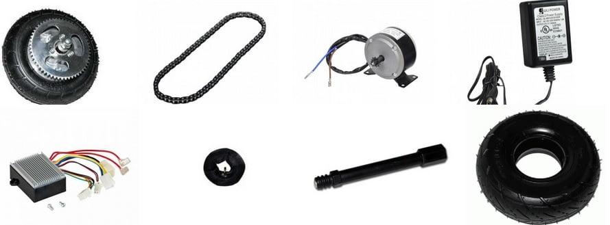 Piese si accesorii Razor: lant transmisie, motor, controller, buton, roata...