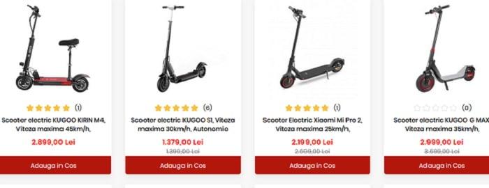 Vezi oferta de trotinete electrice adulti Kugoo, Xiaomi
